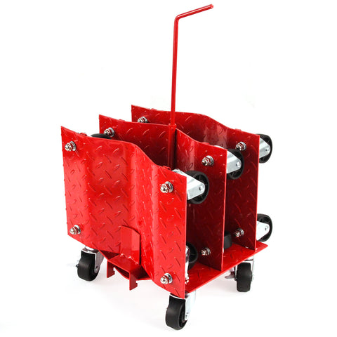 4 - Red with Storage Rack 12 Inches Tire Premium Skates Wheel Car Dolly Ball Bearings Skate Moving a Car Easy Furniture Movers