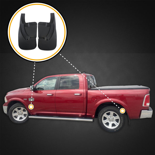 Red Hound Auto Premium Mud Flaps Splash Guards Compatible with Dodge Ram (1500 2009-2018, 1500 Classic 2019, 2500 3500 2010-2018) Molded Front & Rear 4 Piece Set (for Trucks with OEM Fender Flares)