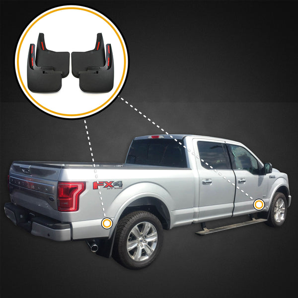 Red Hound Auto Premium Heavy Duty Molded 2015-2019 Compatible with Ford F-150 Mud Flaps Guards Splash Front Rear 4pc Set (with OEM Fender Flares/Trim)