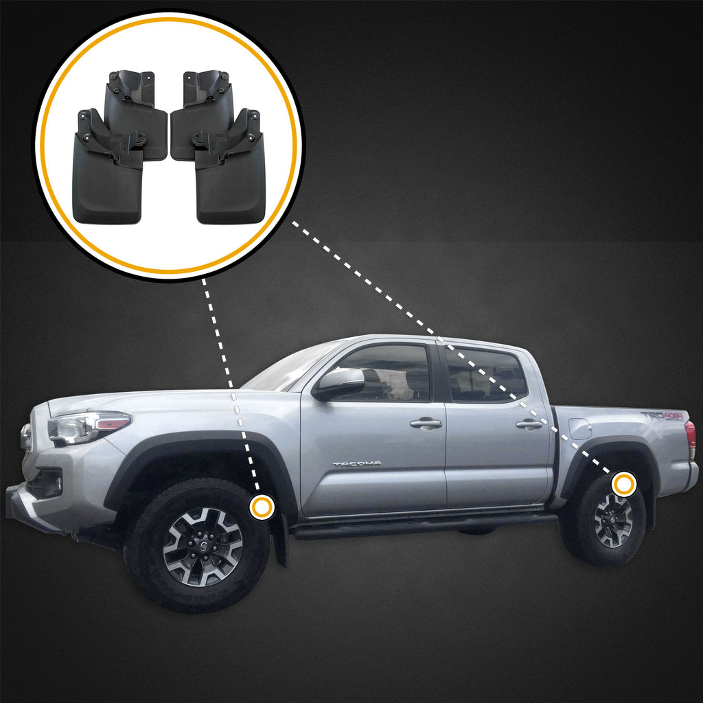 FRONT+REAR MOLDED MUD FLAPS SPLASH GUARDS W// OEM FENDER FLARE FIT TOYOTA TACOMA