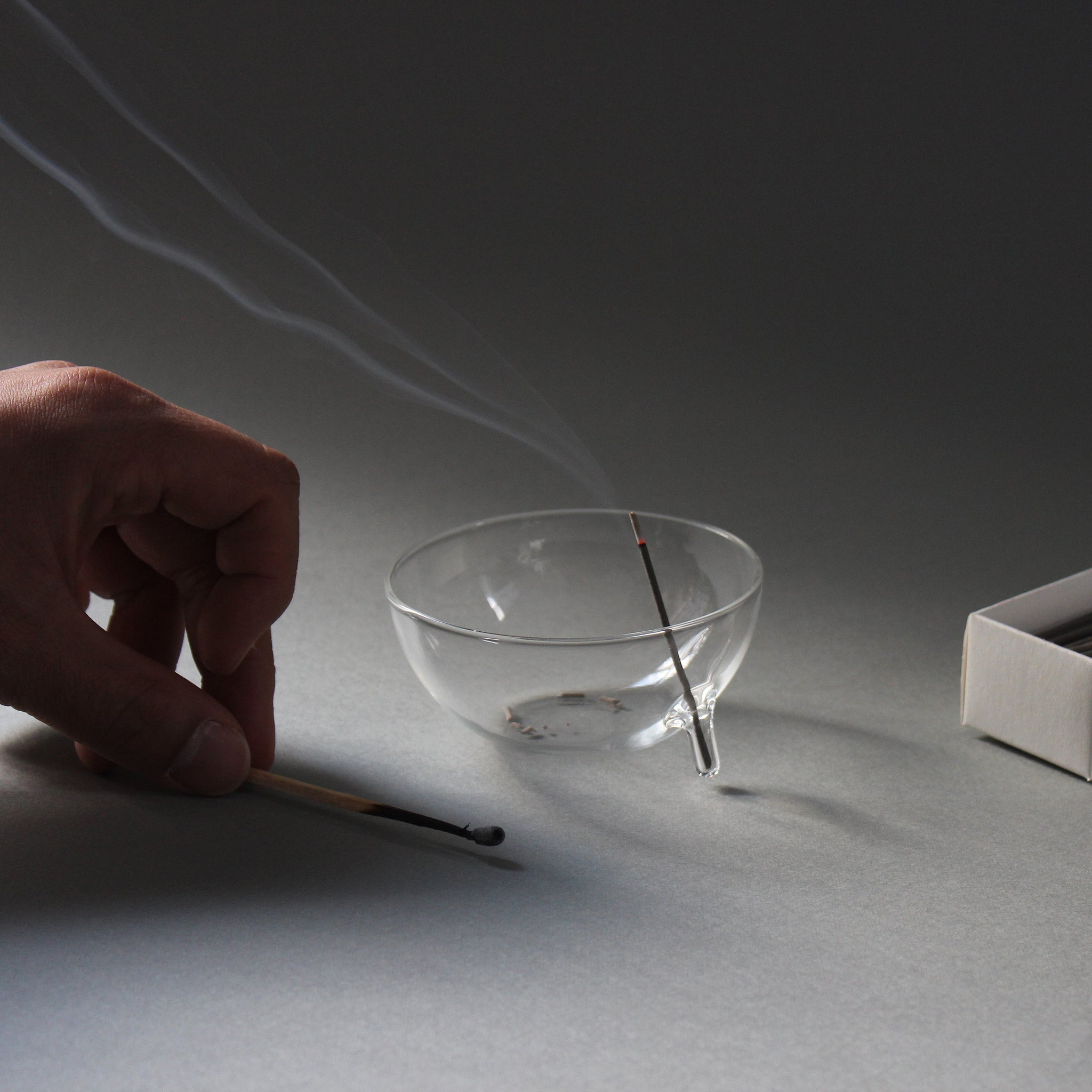 clear b Glass Incense Burner - Small