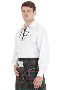Kilt Society Mens White Scottish Jacobite Ghillie Shirt Medium