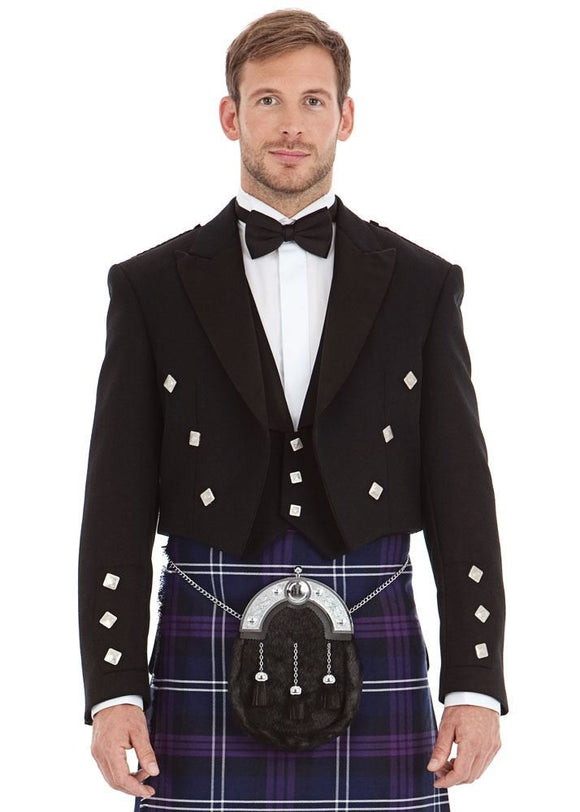 Kilt Society Mens Scottish Black Prince Charlie Kilt Jacket & Vest 52 Long