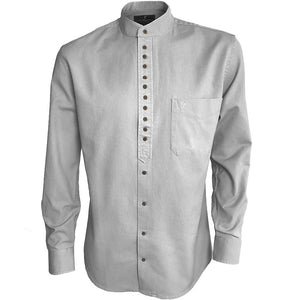 Traditional Irish Grandfather Collarless Shirt (Ash, L)