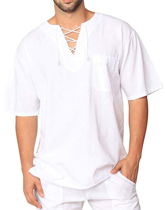 Oyamiki Mens Linen Shirts V Neck Beach Short Sleeve Tops Lightweight Tees Cotton Plain Summer Regular Fit Casual T Shirts White