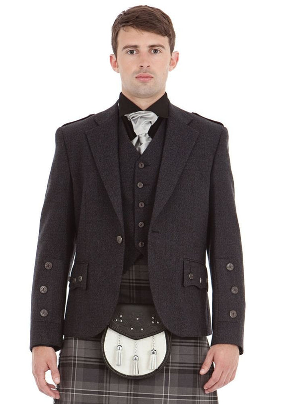 Kilt Society Mens Scottish Grey Tweed Braemar Kilt Jacket & Vest 38 Long