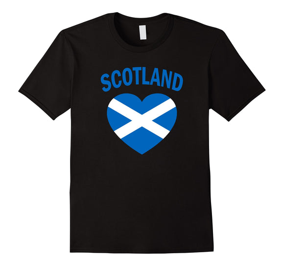 I Love Scotland T-Shirt Blue Scottish Flag Heart Tee