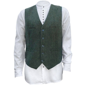 Men's Irish Full Back Herringbone Tweed Wool Blend Vest in 3 Traditional Color Choices