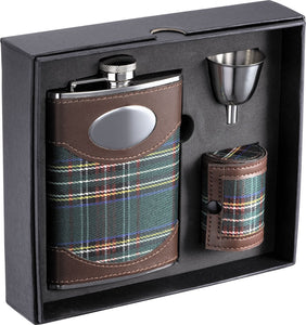 "Visol""Edinburgh"" Plaid Cloth Stainless Steel Deluxe Flask Gift Set, 8-Ounce"