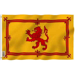 Anley Fly Breeze 3x5 Foot Scotland Rampant Lion Flag - Vivid Color and UV Fade Resistant - Canvas Header and Double Stitched - Scottish Rampant Lion Flags Polyester with Brass Grommets 3 X 5 Ft