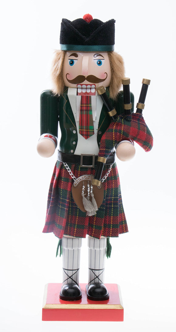Clever Creations Scottish Wooden Collectible Nutcracker Wearing Scottish Kilt, Green Coat, and Plaid Hat with Bagpipes | Festive Decor | Perfect for Shelves and Tables | 100% Wood | 14
