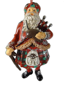 On Holiday Scottish Santa Claus with Bagpipes Kilt and Cane Christmas Tree Ornament
