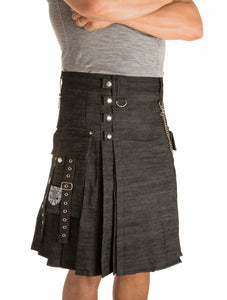 Damn Near Kilt 'Em Men's Smithy Utility Kilt Small Carbide Black
