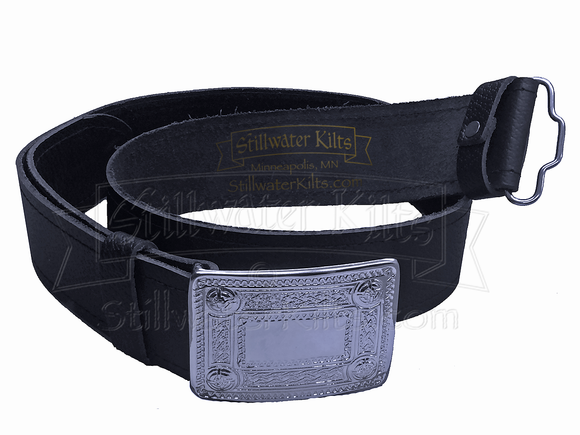 Premium Black Leather Kilt Belt with Buckle by Stillwater Kilts