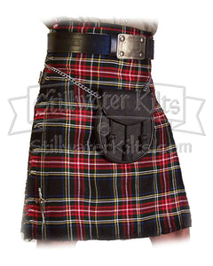 Wool Heavyweight Kilt: Black Stewart Tartan from Stillwater Kilts