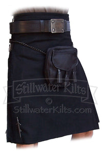 "Wool Heavyweight Kilt: Solid Black ""Shadow Tartan"" from Stillwater Kilts"
