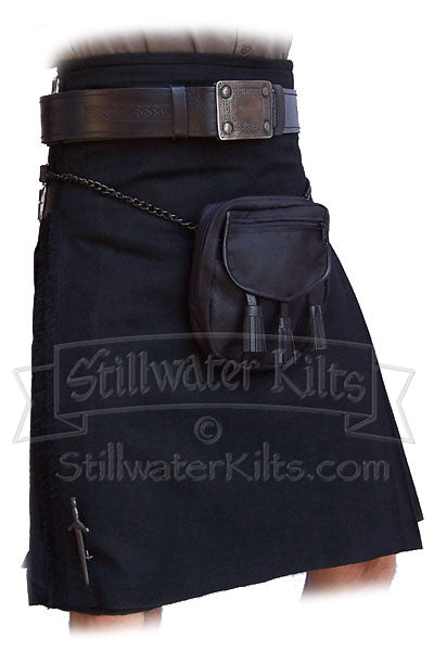 Wool Heavyweight Kilt: Solid Black