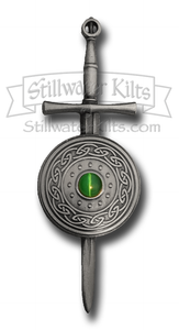 Deluxe Irish Sword and Shield Kilt Pin with Green Cat's-Eye Stone by Stillwater Kilts