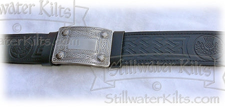 Embossed Kilt Belt with Buckle- Black by Stillwater Kilts