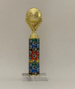 Soccer ball rainbow trophy