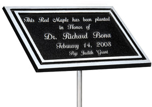 Outdoor Memorial Plaque Black/Silver with Stake