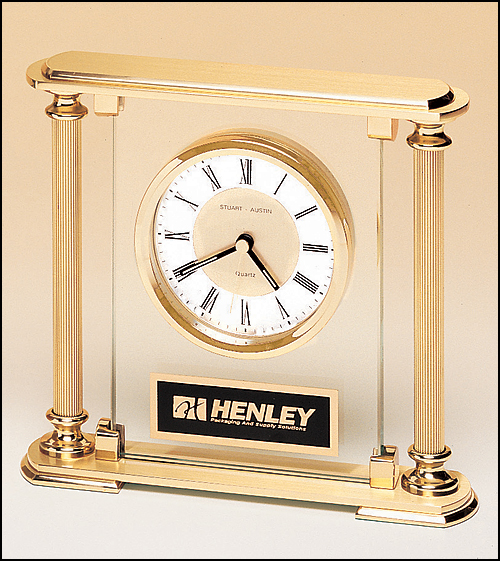 Gold and Glass Desk Clock