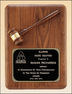 Gavel Walnut Plaque