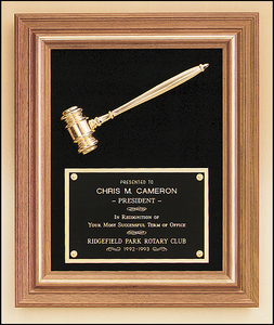 Golden Gavel on Velour Plaque