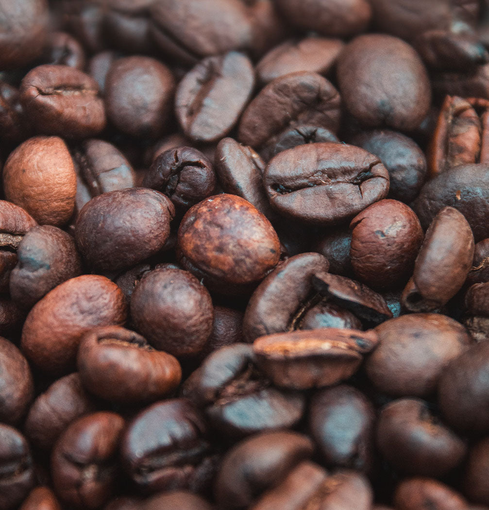 close up of a bunch of coffee beans