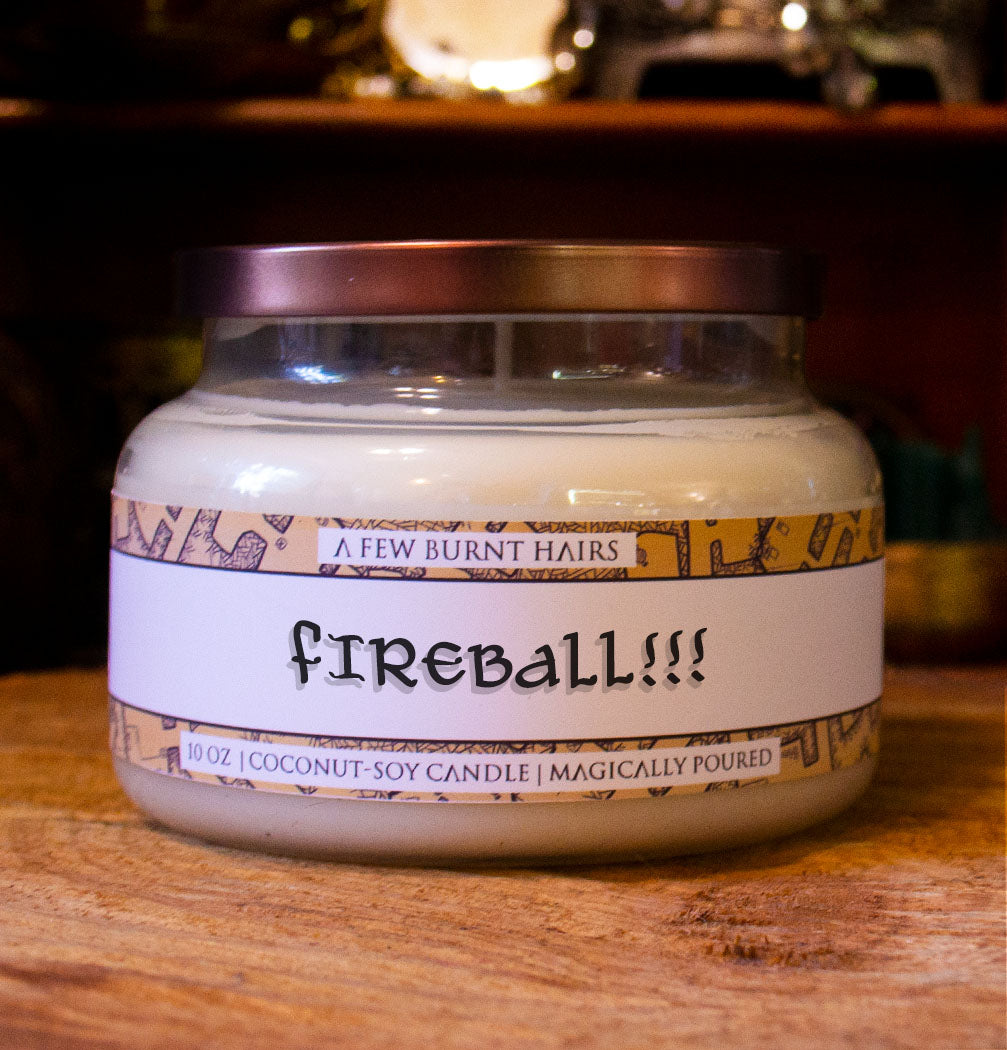 "close up of cylindrical candle ""fireball!!!"""