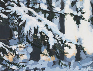 Original acrylic winter landscape painting for sale