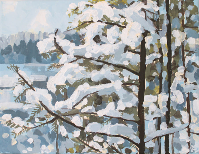 Original acrylic winter landscape painting on canvas for sale