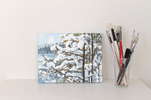 Original acrylic winter painting on canvas for sale