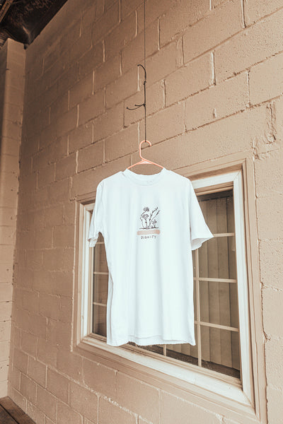 dignity tee - white and pink