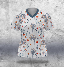 Load image into Gallery viewer, White and Navy Scrub Top Ladies
