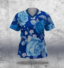 Load image into Gallery viewer, Navy and Light Blue Floral Scrub Top Ladies