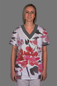 Abstract Flower Scrub Top Ladies