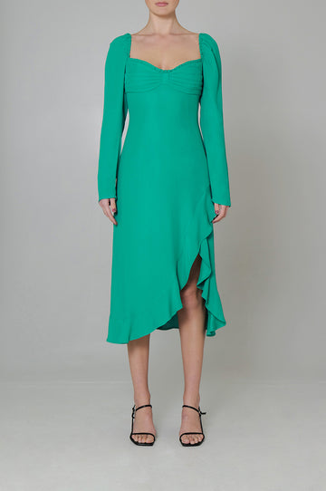 Copain Midi Dress in Emerald Green