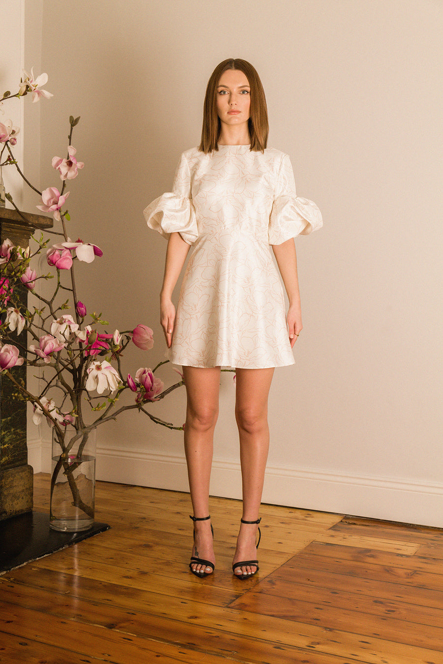 Sakura Mini Dress in Cherry Blossom Ivory