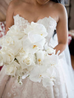 Load image into Gallery viewer, ROSES & WHITE PHALAENOPSIS Bridal Bouquet