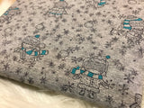 Winter Snowball fight Kids on heather gray cotton lycra RETAIL precut in 1 yard cuts