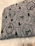 Winter Animals on heather gray cotton lycra RETAIL precut in 1 yard cuts