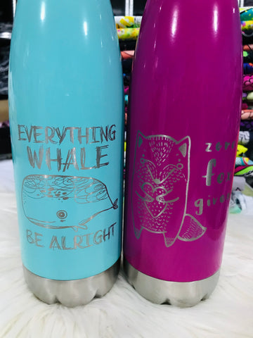17oz Engraved Water Bottles Steel Cap and Base - 4 to choose from - Retail