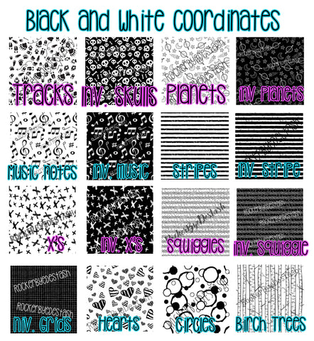 Cotton Lycra ACCENT prints - 1 yard per quantity Coordinate designs Black and white