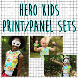 RETAIL - Hero Kids Print/Panel Rapport sets 2 panels and print all in one yard. 4 colors to choose from