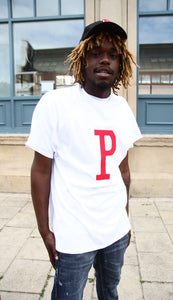 P - White Cotton Tee - 3D graphics - The Drop