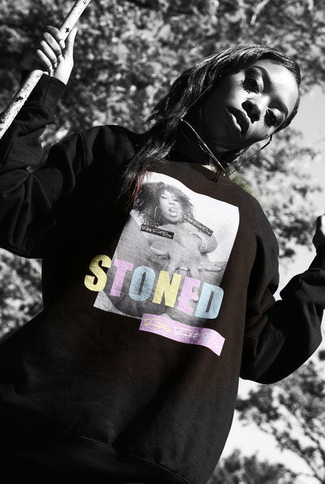 Stoned - Black Cotton Sweater - The Drop