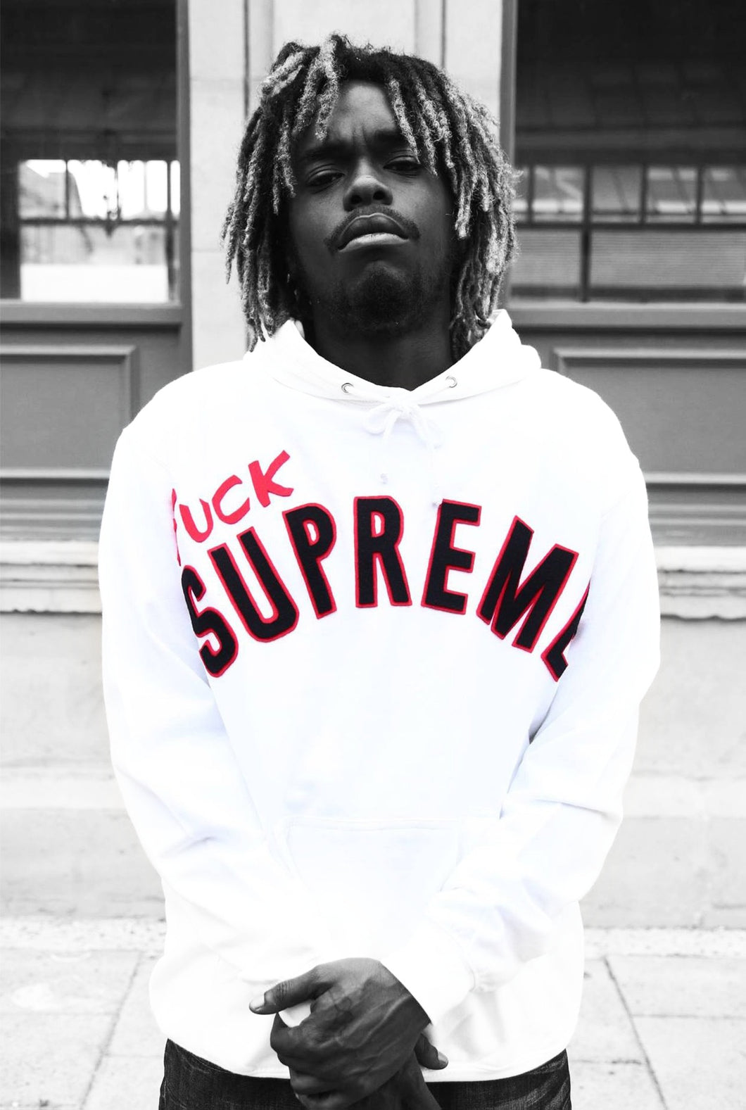 F*CK Supreme - White Cotton Hoodie - 3D graphics - The Drop