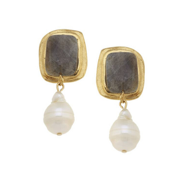 Gold Rectangle with Labradorite and Baroque Pearl Earrings