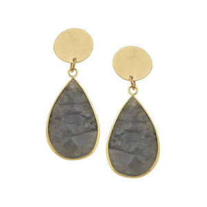 Gold Round and Labradorite Tear Drop Earrings